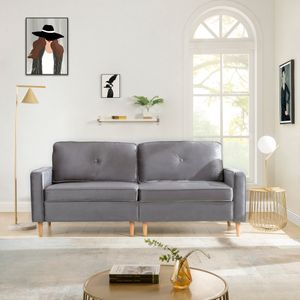 3-Sitzer Sofa, Couch für Wohnzimmer, gemütlich morderne Couch mit dezenten Designelementen, Federkern und Loser Rücken, 194 * 76 * 90cm,Grau