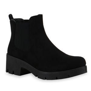 Mytrendshoe Damen Stiefeletten Chelsea Boots Blockabsatz Profil-Sohle Schuhe 835950, Farbe: Schwarz, Größe: 40