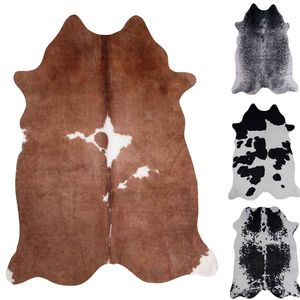 Kuhfell Teppich aus Kunstfell Fellimitat Robust Pflegeleicht in versch. Farben Vimoda, Farbe:Braun, Size:155x190