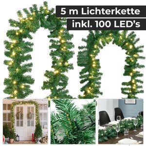 Juskys Weihnachtsgirlande 5m mit Beleuchtung – Lichterkette mit 100 LED warm-weiß strombetrieben - Indoor Tannengirlande künstlich – Weihnachtsdeko