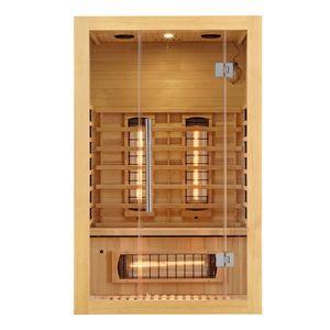 Artsauna Infrarotkabine Kiruna120 Dual Technologie – 5 Vollspektrumstrahler & 3 Flächenstrahler – 2 Personen – LED Farblicht – Radio - Hemlock-Holz