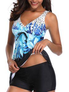 Übergröße ydance Damen Tankini Badekleid Bademode Badeanzug Push Up BH Gepolstert,Farbe:Blau,Größe:L