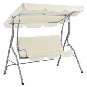 Juskys Hollywoodschaukel 3-Sitzer mit Dach & Sitzauflage – Gartenschaukel 200 kg belastbar – Schaukelbank für Garten & Terrasse - beige