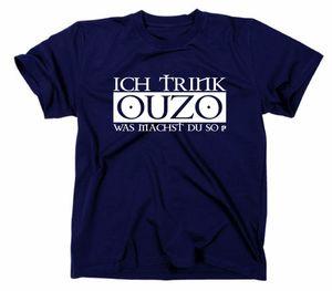 Styletex23 T-Shirt Ich trink Ouzo was machst du so, navy, L