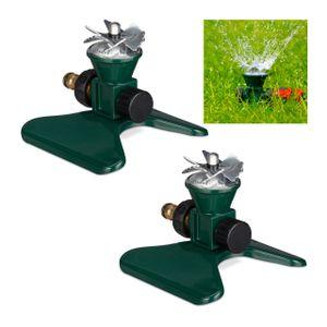relaxdays 2 x Rasensprenger Garten, Sprinkler Bewässerung, Gartensprenger Boden, Sprenkler