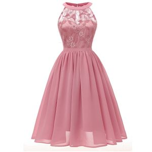 Frauen Vintage Prinzessin Floral Lace Cocktail Ausschnitt Party Aline Swing Kleid Größe:M,Farbe:Rosa