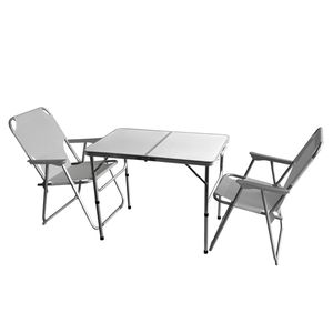 3tlg. Campingmöbel-Set Alu Campingtisch 'Bergen' 90x60cm + 2x Klappstuhl Hellgrau