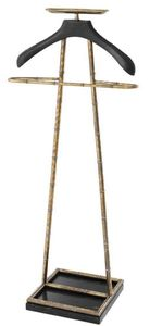 Casa Padrino Luxus Dressboy Vintage Messingfarben / Schwarz 50,5 x 31 x H. 117 cm - Kleiderständer Garderobenständer Anzugständer Stummer Diener Herrendiener - Luxus Accessoires