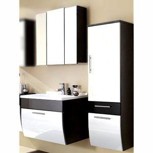 Badezimmer-Set TALONA-02 Hochglanz weiß, anthrazit, 70cm Waschtisch, B x H x T ca.: 130 x 200 x 49,5 cm