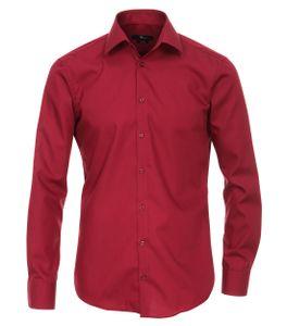 Größe 40 Venti Hemd Dunkelrot Uni Langarm Slim Fit Tailliert Kentkragen 100% Baumwolle Popeline Bügelfrei