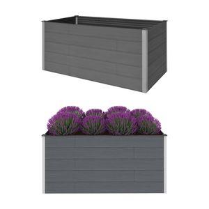Garten-Hochbeet Hochbeet für Balkon und Garten Grau 200 x 100 x 91 cm WPC
