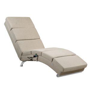 Casaria Relax Stuhl London mit Heizung und Massagefunktion Stoff / Kunstleder ergonomischer Wohnzimmer Liegestuhl Liegestuhl, Farbe:Stoff sand