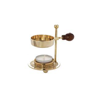 Verstellbares Räucherstövchen Messing mit Holzgriff gold Räuchergefäß klein 1522