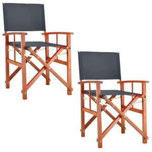 Deuba Gartenstuhl Cannes FSC®-zertifiziertes Eukalyptusholz faltbar Klappstuhl Holz Stuhl Regiestuhl, Farbe:2x anthrazit