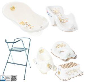 Tega Baby ® Baby Badewanne mit Gestell und Verschiedene Sets mit Babybadewannen + Ständer + Abfluss + Badewannensitz 0-12 Monate, Motiv:Bärchen - weiß, Set:7 Set Silber