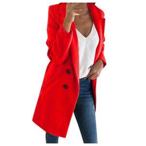 Frau langer Wollmantel Elegante Mischmäntel Schlanke weibliche lange Mantel Oberbekleidung Jacke Größe:L,Farbe:Rot