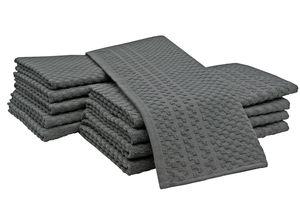 10er Set Geschirrtücher, Baumwolle, ca. 45x60 cm, 10x uni grau