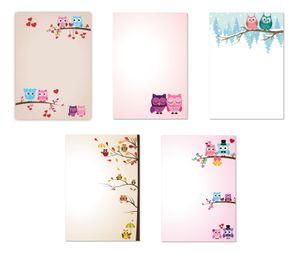5 x 5 Blatt im Set Briefpapier Mix DIN A4 Eulenpapier gemischt (Eulen-5223)