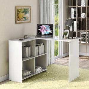 Eckschreibtisch Weiss Computertisch mit Regal Gross Aufbewahrungstisch PC Tisch aus MDF Winkelschreibtisch für Büro Arbeitszimmer