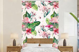 Tapeten - Fototapete - Rosa - Muster - Flamingo - 225x350 cm - Vinyl