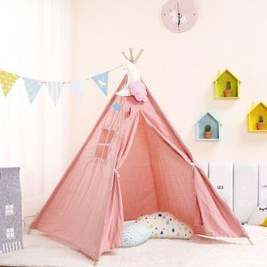 1,1 m tragbare Kinderzelte Spielhaus Kinder Baumwolle Leinwand Spielzelt Wigwam Kind Little Tipi Raumdekoration -rosa