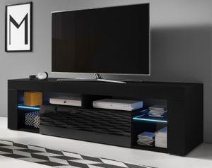 TV Lowboard TV Unterteil Mount in Hochglanz schwarz 160 x 50 cm Fernsehtisch