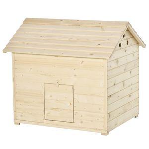 PawHut Entenstall Entenhaus mit zu öffnenden Kippdach Geflügelstall Hühnerstall Hühnerhaus mit erhöhten Boden und Rampe an der Vordertür Tannenholz Natur 100 x 82,5 x 91 cm