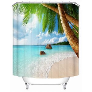 180x180cm Tropical Beach wasserdichter Bad Vorhang Duschvorhang Polyester mit 12 Stück Haken