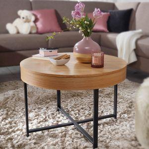 WOHNLING Design Couchtisch Rund Ø 69 cm mit Eichen Optik Tisch mit Stauraum | Lounge-Wohnzimmertisch mit Metallbeine | MDF Beistelltisch