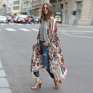 Frauen Blumendruck Chiffon Lose Schal Kimono Cardigan Top Cover Up Shirt Bluse Größe:XXL,Farbe:Weiß