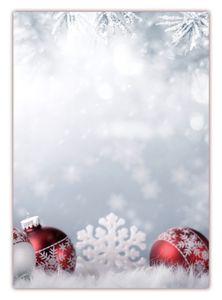Motivpapier Briefpapier (Weihnachten-5179, DIN A4, 100 Blatt) - Weihnachtspapier rote Weihnachtskugeln im Schnee