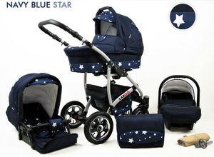 Kinderwagen Largo Alu, 3in1- Set Wanne Buggy Babyschale Autositz mit Zubehör Navy Blue Star