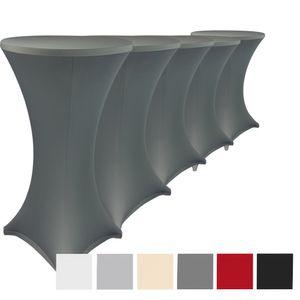 Stehtischhussen Stretch Elastique 5er Set -  Anthrazit Ø 70-75 cm elastische Premium Stretchhusse für alle gängigen Bistrotische und Stehtische - dehnbarer Tisch