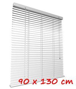 Aluminium-Jalousie 90 x 130cm Klemmträger Alujalousie Aluminiumjalousie Fenster Lamelle Weis