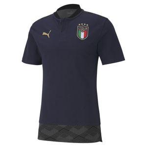 Puma FIGC Italien Casuals Poloshirt EM 2021 Herren Erwachsene dunkelblau / gold L