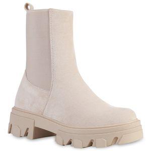 VAN HILL Damen Stiefeletten Plateau Boots Stiefel Profil-Sohle Schuhe 835598, Farbe: Nude Velours, Größe: 38