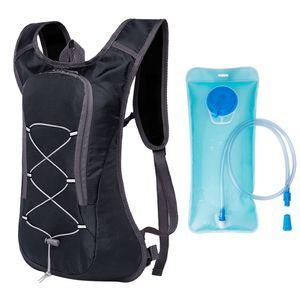 Atmungsaktive Ultraleicht Fahrrad Rucksack Outdoor Sport Radfahren Camping Wandern Laufen Trinkrucksack Tasche mit mit 2L Wasser Blase