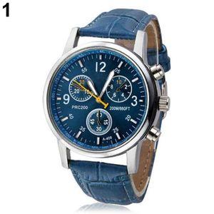 Mode herren kunstleder sportuhr arabischen ziffern marker quarz armbanduhr Blau