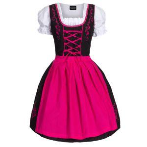 Dirndl 3 tlg.Trachtenkleid Kleid, Bluse, Schürze, Gr. 34-52 schwarz pink 44