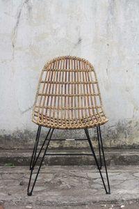 Sit Möbel RATTAN Stuhl  Rattan ungeschält | L 50 x B 60 x H 84,5 cm | natur / schwarz | 05324-04 | Serie RATTAN