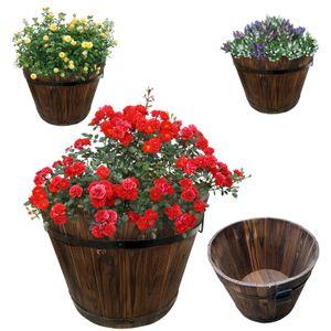 Holz Pflanzkasten | Pflanzkübel | Kräuterbeet | Pflanzkübel | Pflanzentopf | Balkonkasten | Holzkübel | Dekokasten | Dekokübel | Größe M = 31,5cm - Höhe 25cm