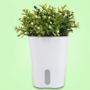 4pcs Selbstbewässernder Pflanzer Kunststoff Blumen Töpfe Sukkulenten Blumen Weiß