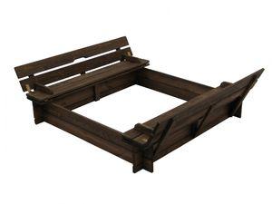Sandkasten aus Holz mit Deckel und Bänken B118 x T118 x H20 cm