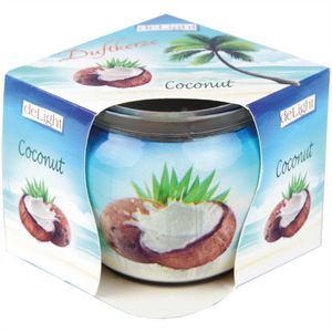 Duftkerzen Motiv im Glas, lange Brenndauer und angenehmer Duft ( Coconut )