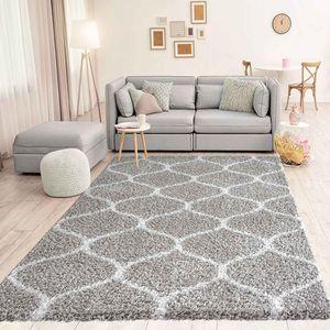 Hochflor Teppich Maschen Design Marokkanisch Muster Grau Creme , Maße:140x200 cm