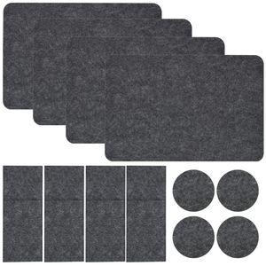 Filz Tischset Bestecktasche Untersetzer Set 43x30 cm Stoff Platzset Filzset Grau