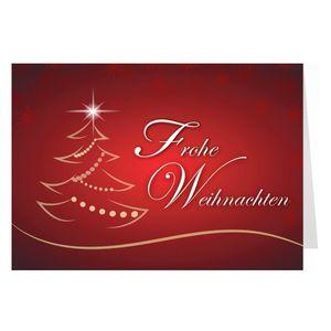 10er Pack Weihnachtskarten 10 Stück Klappkarten mit Umschlag im A6 Querformat - Weihnachtsbaum