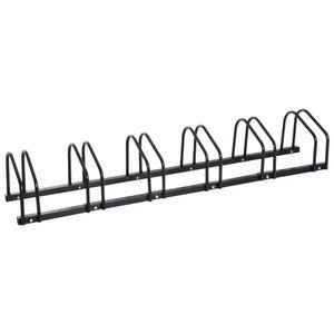 HOMCOM Fahrradständer Radständer Aufstellständer Mehrfachständer Fahrrad Ständer Boden- und Wandmontage Stahl Schwarz 160 x 33 x 27 cm bis 6 Fahrräder