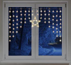 LED Sternenvorhang mit 1 großen und 70 kleinen Sternen