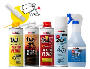 innobike Mega Bundle bestehend aus 105 HTKF 300ml + 106 KETTENFLUID Plus 300ml + 107 Xtreme KETTENFLUID 300ml + Pinselaufsatz + 205 Bike Cleaner active Foam 300ml + 207 Bike Cleaner active Wash 1000ml